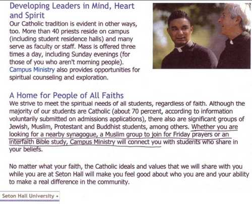 """A striking image of the Vatican II apostasy promoted on the website of  """"Catholic"""" Seton Hall University, which we covered in this section  (underlining added ..."""